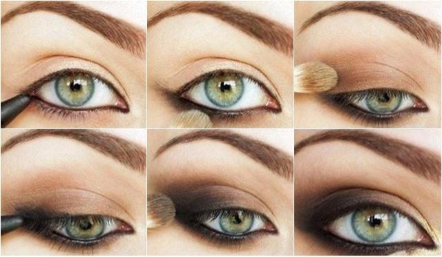Mujer maquillando sus ojos hundidos