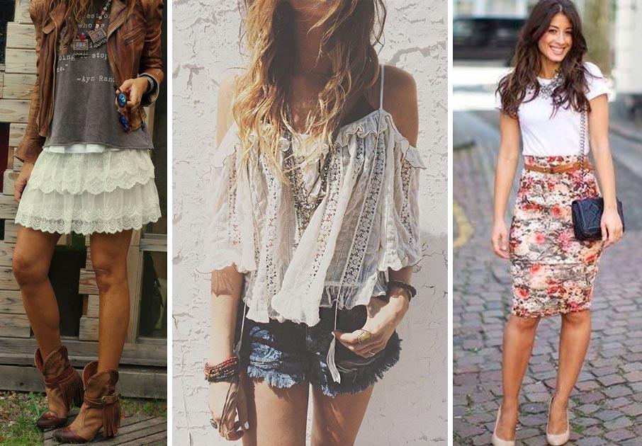 Chicas con diferentes faldas y pantalón
