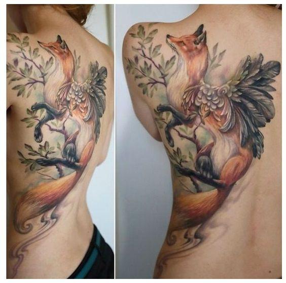 zorro un tatuaje para la espalda