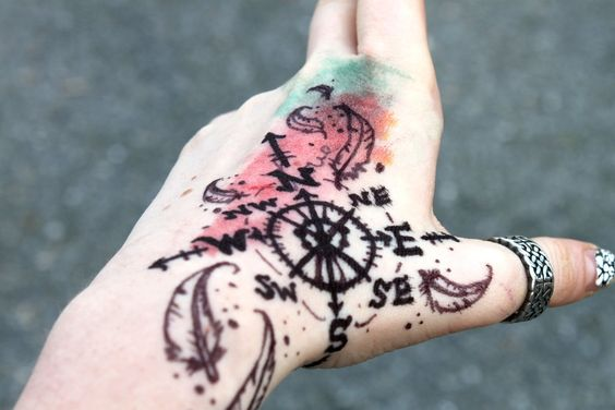 Una brújula tatuada en la mano