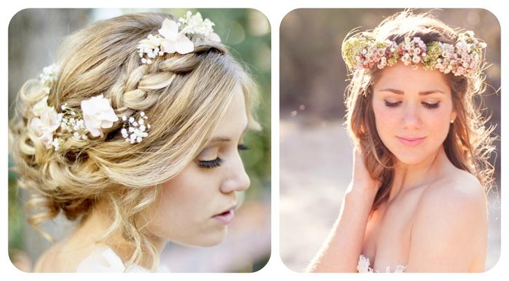 Cabello trenzado y coronas para novias