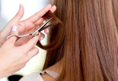 Mujer de cabello largo recibiendo un corte de cabello. Cortarse el cabello con frecuencia.
