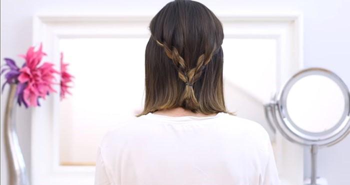 Peinados para invitadas de boda de trenzas de cordón en ambos lados
