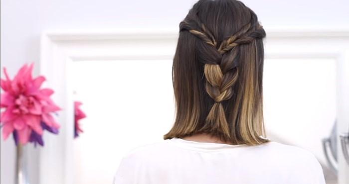 Peinado de mechones entrelazados