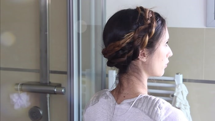 Peinado corona de trenzas rápido